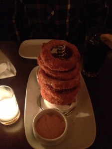 Romantically lit onion rings.