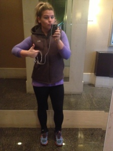 Creepy face, but my favorite winter running gear! The vest makes me look pregnant, but it's warm so YOLO?