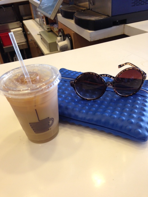 ICED COFFEE. The sunnies and bag are great, too.