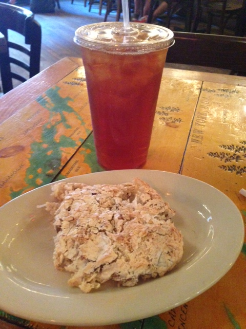Coconut & date macaroon with iced tea. Swoon. @ Grey Dog Cafe
