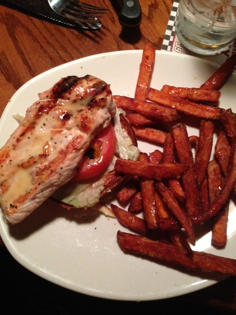 open-faced grilled chicken sandwich with sweet potato fries <3