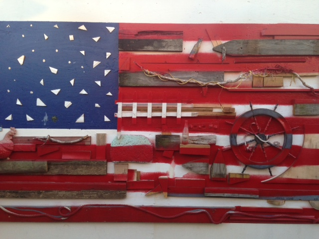 amazing flag made out of items found after Hurricane Sandy!