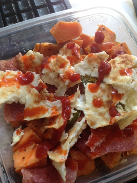 sweet potato chunks sauteed in coconut oil, red onion, egg whites, jalapenos & turkey bacon topped with organic ketchup & Frank's hot sauce