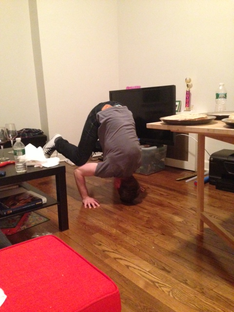 drunk crow pose. Not recommended.