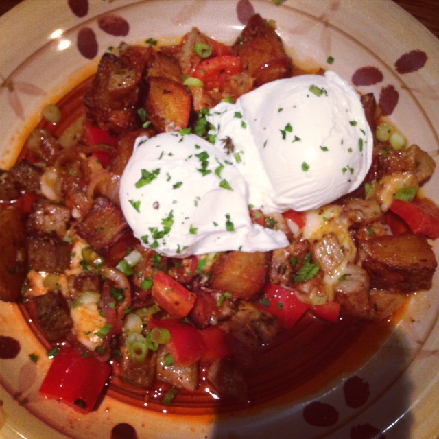 Smoked pork hash with poached eggs. SO GOOD