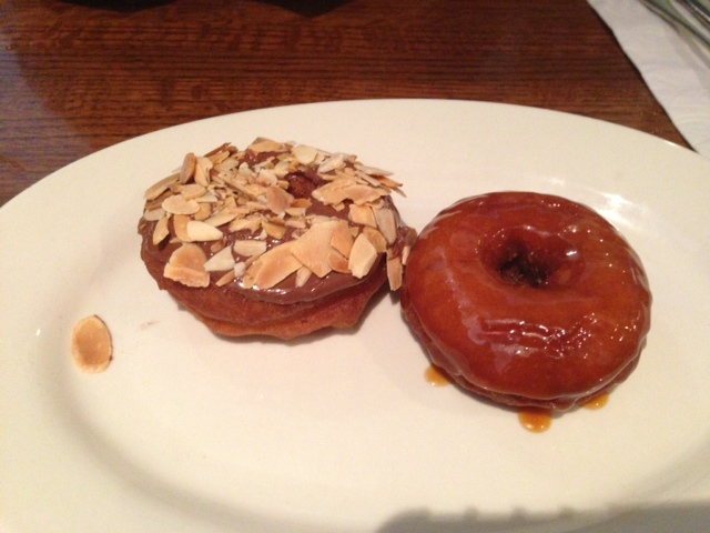 Chocolate hazelnut almond and salted caramel mini donuts as an appetizer? Stop.