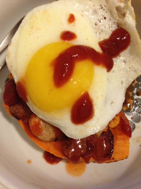 Same as last pic but topped with a runny egg & organic ketchup