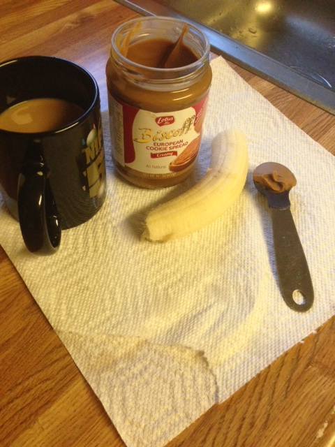Coffee w/ pumpkin creamer & stevia, small banana & 1/2 tbsp biscoff
