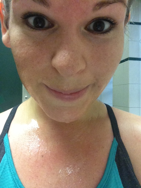This was 1.5 miles into my run. The sweat started within the first .25 miles.