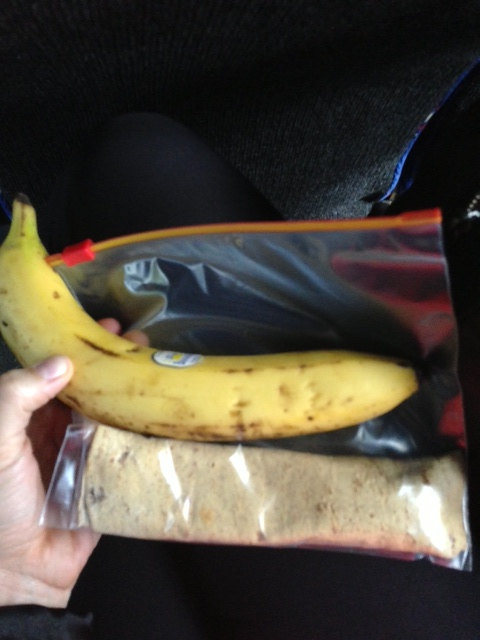 90 calorie Flatout wrap, Better'n PB, chocolate hazelnut butter and a banana