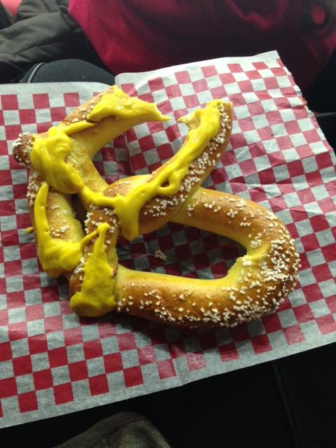 Pretzel. My half is the mustard covered one. John gets the much smaller side ;-)