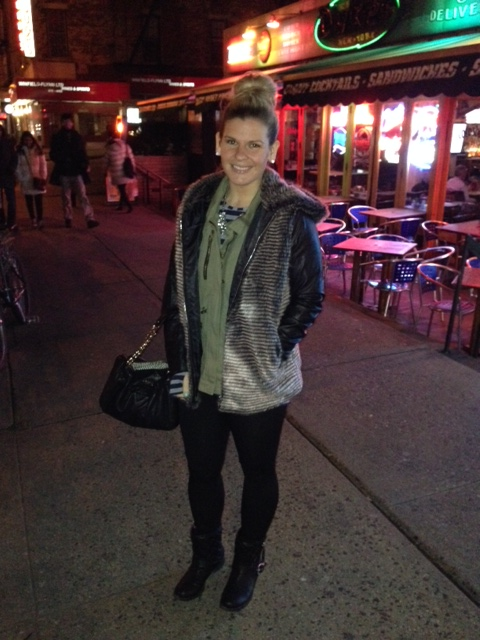 Camo/leather sleeve jacket with my fur vest over. Love the contrast!