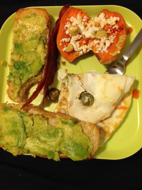 italian roll w/ avocado, 3 egg whites w/ jalapenos, small sweet potato w/ goat cheese, smoked paprika, garlic powder + dijon mustard! TRY THIS COMBO!