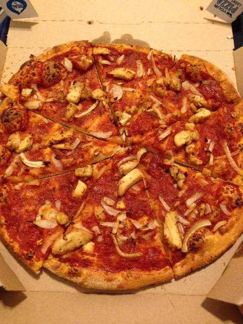 Medium no-cheese pizza with grilled chicken and onions. Beyond amazing.